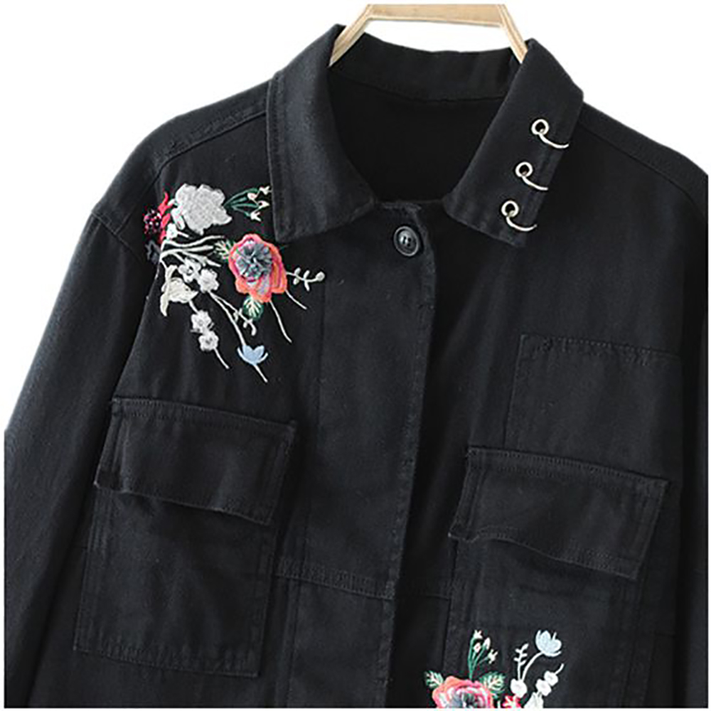 4ae67a3be2e Woman Casual Denim Jacket Embroidered Flower Embroidery Long Sleeves  Vintage Female Jackets Metallic Rings Denim Fashion Coat-in Basic Jackets  from Women s ...
