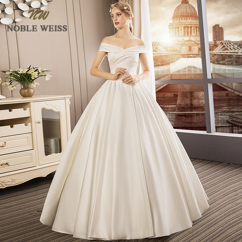 wedding dress 2019 a-line satin vestido de noiva princesa pleat boat neck bare back wedding gowns free shipping