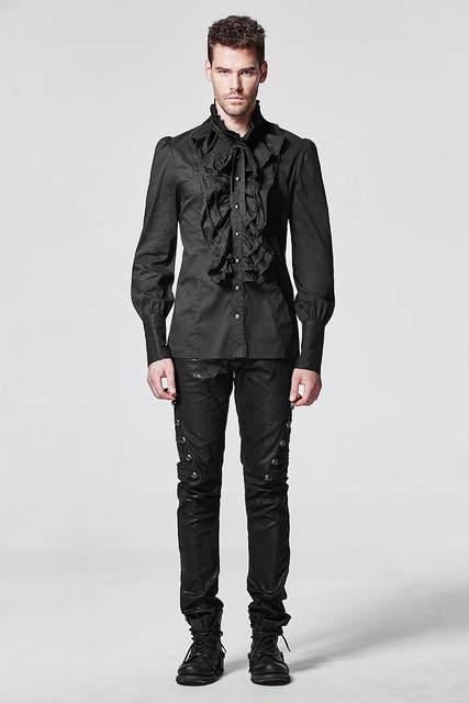 check out 45feb b2750 Gothic Rüschen Mann Hemd Steampunk Schwarz Weiß Langarm Einreiher Baumwolle  Hemd Tops