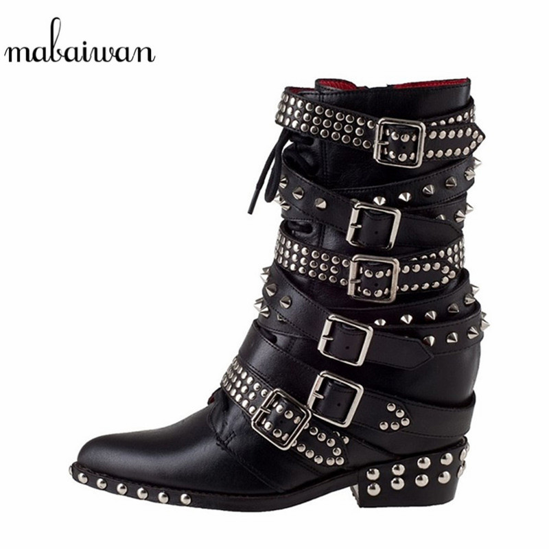 Mabaiwan Fashion Rivets Women High Heel Shoes Winter Ankle Boots New Black Genuine Leather Shoes Woman Lace Up Short Boots Pumps cicime summer fashion solid rivets lace up knee high boot high heel women boots black casual woman boot high heel women boots