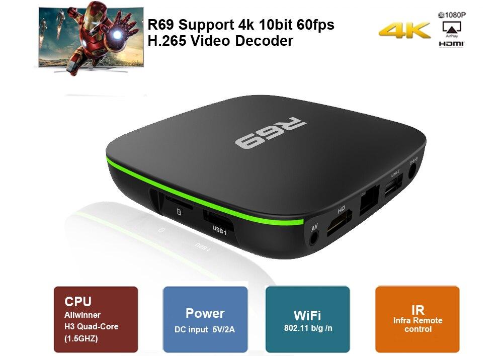 R69 Smart Android 7.1 TV Box 2GB 16GB Allwinner H3 Quad-Core WiFi 2.4GHz 1G8G décodeur 1080P HD Support lecteur multimédia de film 3D