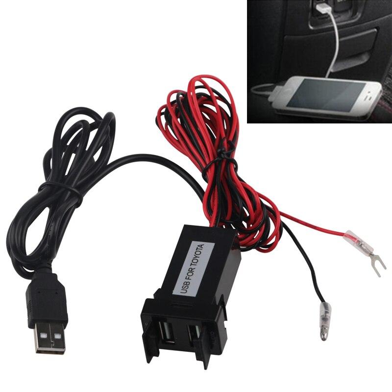 Double USB Chargeur/Audio Port Interface pour Toyota Voitures Blanc Interrupteur Trou Voiture Complice