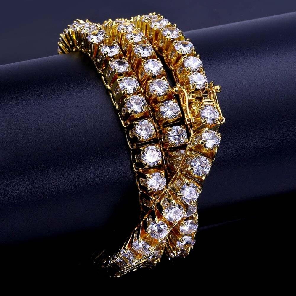 10mm Hip Hop Bling glacé 1 rangée CZ pierre Tennis chaîne collier or argent cubique zircone colliers pour hommes bijoux