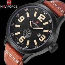 2016 NAVIFORCE марка мужчины часы кожа Спортивные часы дата неделя 3ATM водонепроницаемый Аналоговые Кварцевые Наручные Часы relógio masculino