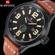 NAVIFORCE Brand Men Analog Quartz Watch Men Waterproof Sport Watches Leather Band Creative Auto Calendar Clock Relogio Masculino