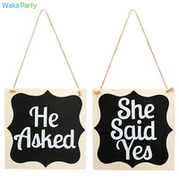 Set Of 2pcs He Asked She Said Yes Wedding Hanging Signs Fun Wedding Photo Booth Props