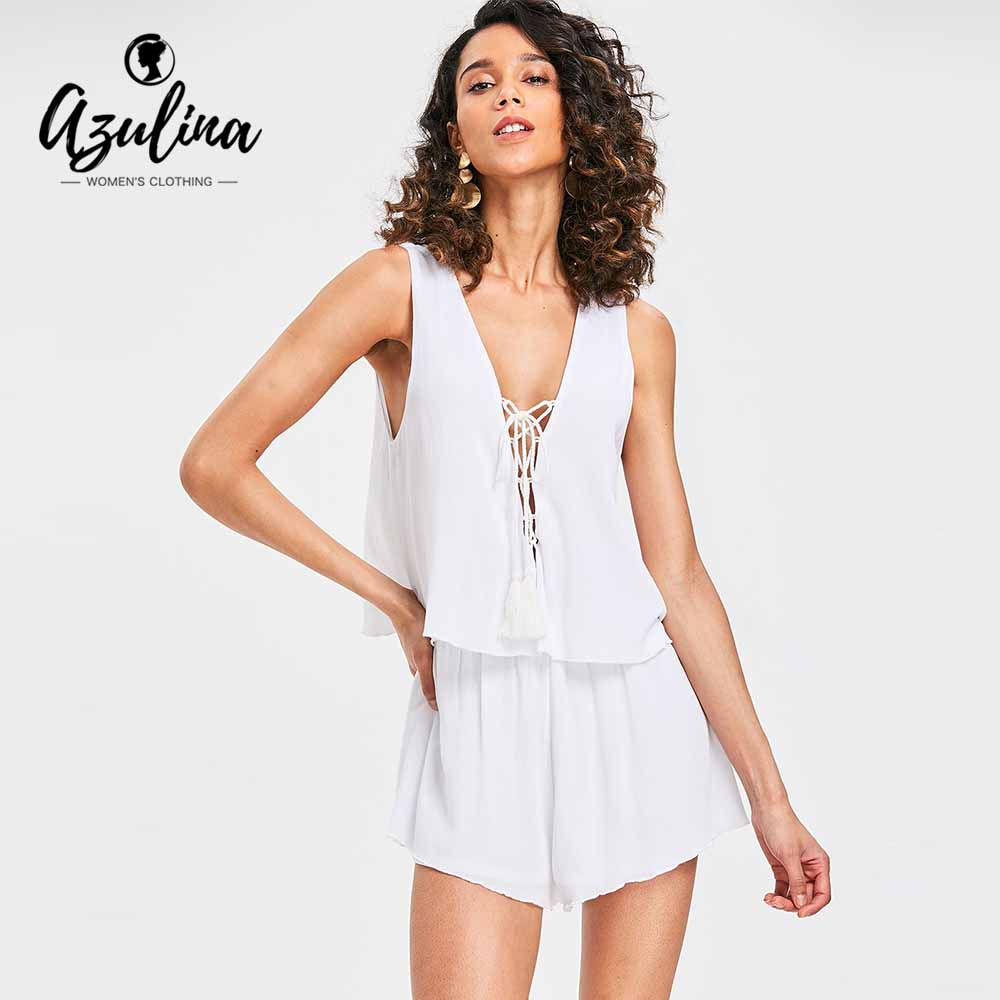 AZULINA Plunging Neck Lace-Up Romper Women Jumpsuit Summer White Cotton Tassel Short Playsuits 2018 Girls Casual Ladies Overalls