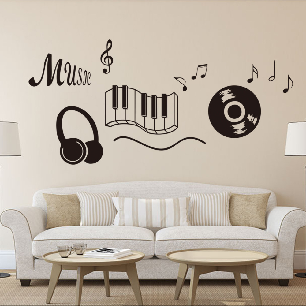 Classic Record Earphone Piano Keyboard Music Note Wall Art Mural ...