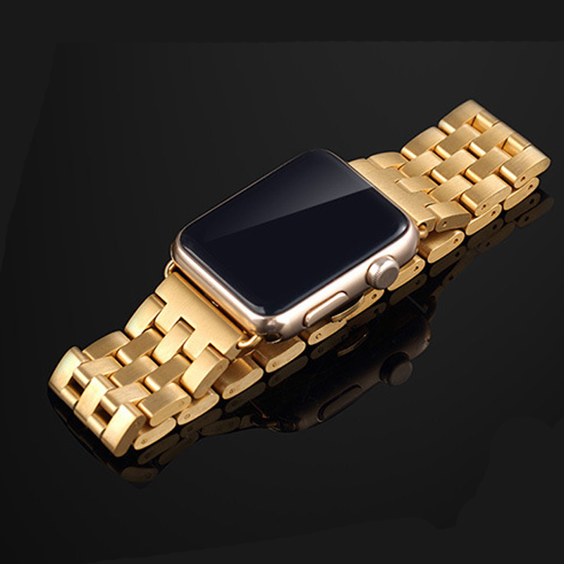 Stainless Steel Watch Strap Bracelet For Apple Watch Band Iwatch Link Silver Rose Gold Black Watchbands 42mm 38mm With Adapter