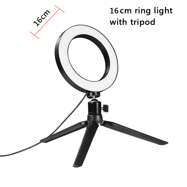 6'' 16cm Ring Light Lamp Table Tripod with Choice  Bi-Color & Dimmable LED Ring light Kit for Makeup YouTube Video Shooting