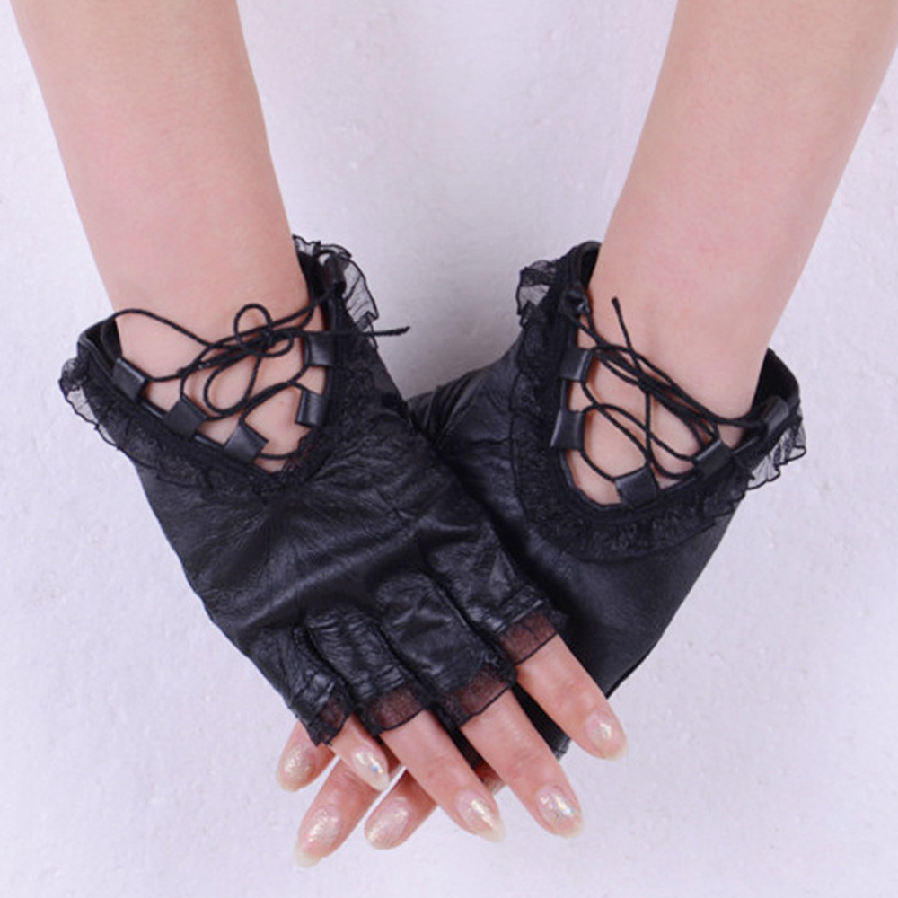 Black leather gloves with coloured fingers - Hot Women Black Half Finger Leather Gloves Soft Sheepskin Lace Trim Patchwork Sexy Bandage Gloves Ladies