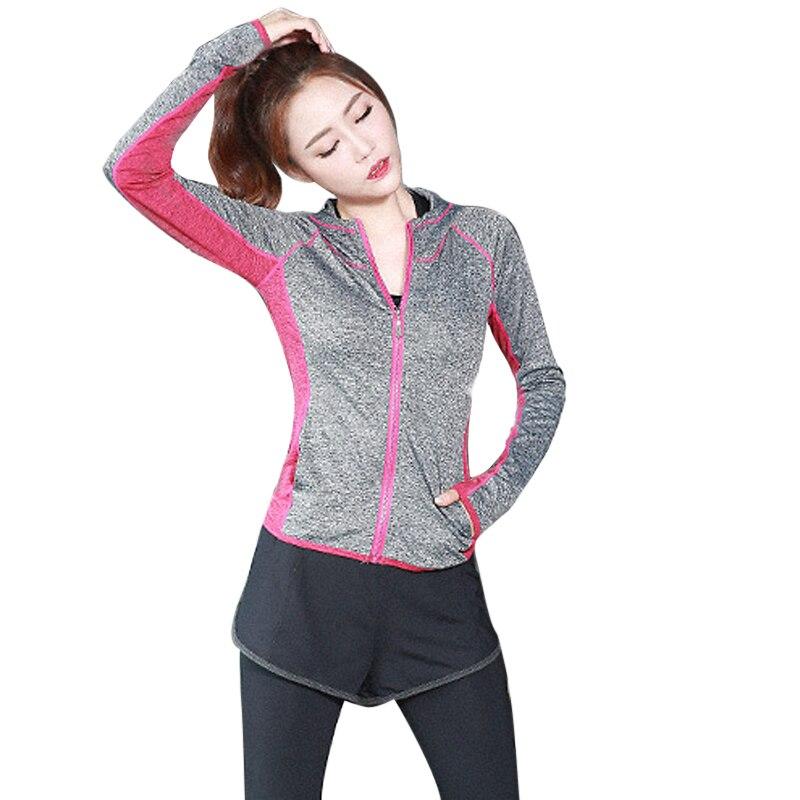 CALOFE Women Running Jacket Hooded Sport Jackets Outdoor Hoodie Coat Jogging Zipper Cardigan Patchwork Fitness Top Sportswear