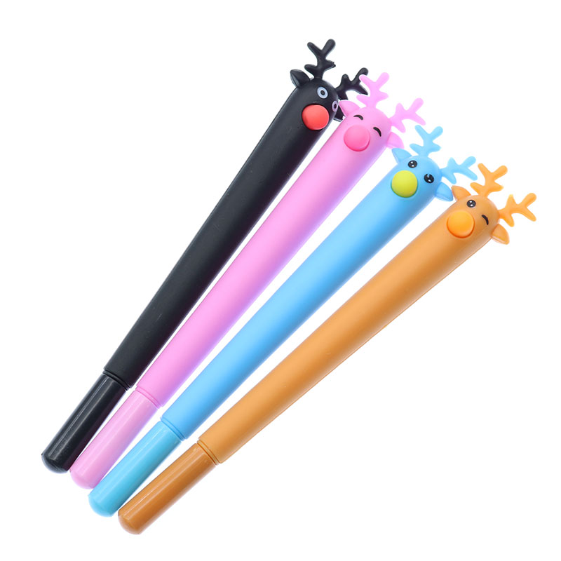 Christmas elk gel pen soft plastic 0.5mm black pen student stationery gift