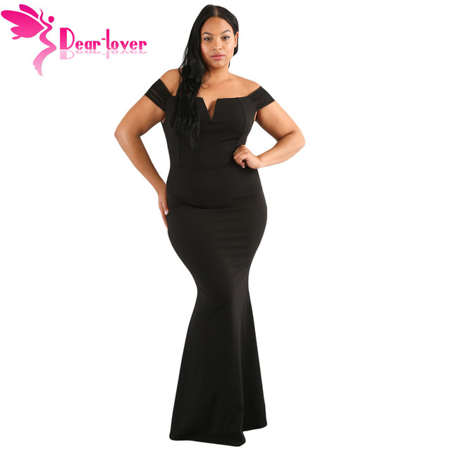 f0f98941df8 Dear Lover Sexy Off Shoulder Long Dresses Summer Woman Black Plus Size Sheer  Sleeve Column Dress Vestidos de Festa Longo LC61613