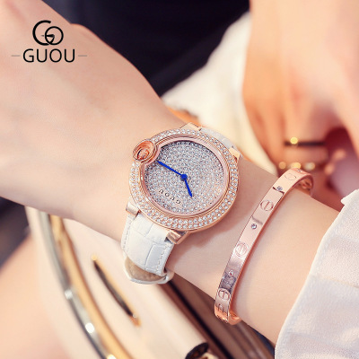 GUOU Luxury Brand Montre Femme Women Watches Full Rhinestone Leather Casual Lady Quartz Wrist Watch Dress Watch Relogio feminino 2016 top julius brand luxury crystal watches leather strap rhinestone fashion qaurtz wrist watch montre femme relogio feminino