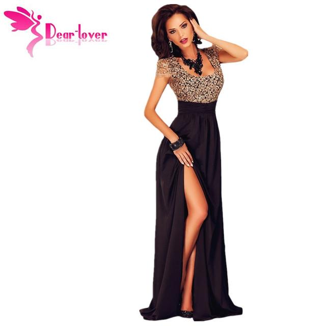 Caro Amante Mulheres Ouro Surpreendente Lace Overlay vestido de Fenda de Manga Curta de Verão Mulheres Elegantes Maxi Vestidos para Festa Vestidos Largos LC60809