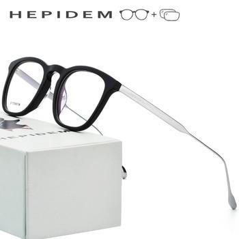 51db8bb6bc B titanio prescripción óptica gafas marco hombres acetato 2018 empollón  ronda marca diseñador Gafas de Metal miopía Eyewear