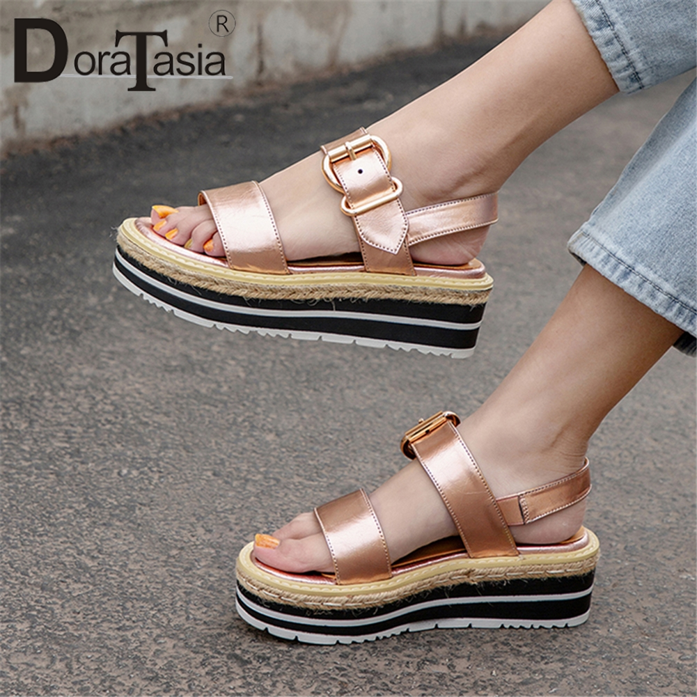 DORATASIA 2019 Sweet Hot Sale Genuine Leather Shoes Sandals Women Summer Flat Sandals Platform Women Casual Shoes WomanDORATASIA 2019 Sweet Hot Sale Genuine Leather Shoes Sandals Women Summer Flat Sandals Platform Women Casual Shoes Woman