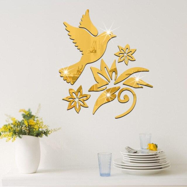 9 pcs/set 3d fashion acrylic mirror surface wall sticker bird flower