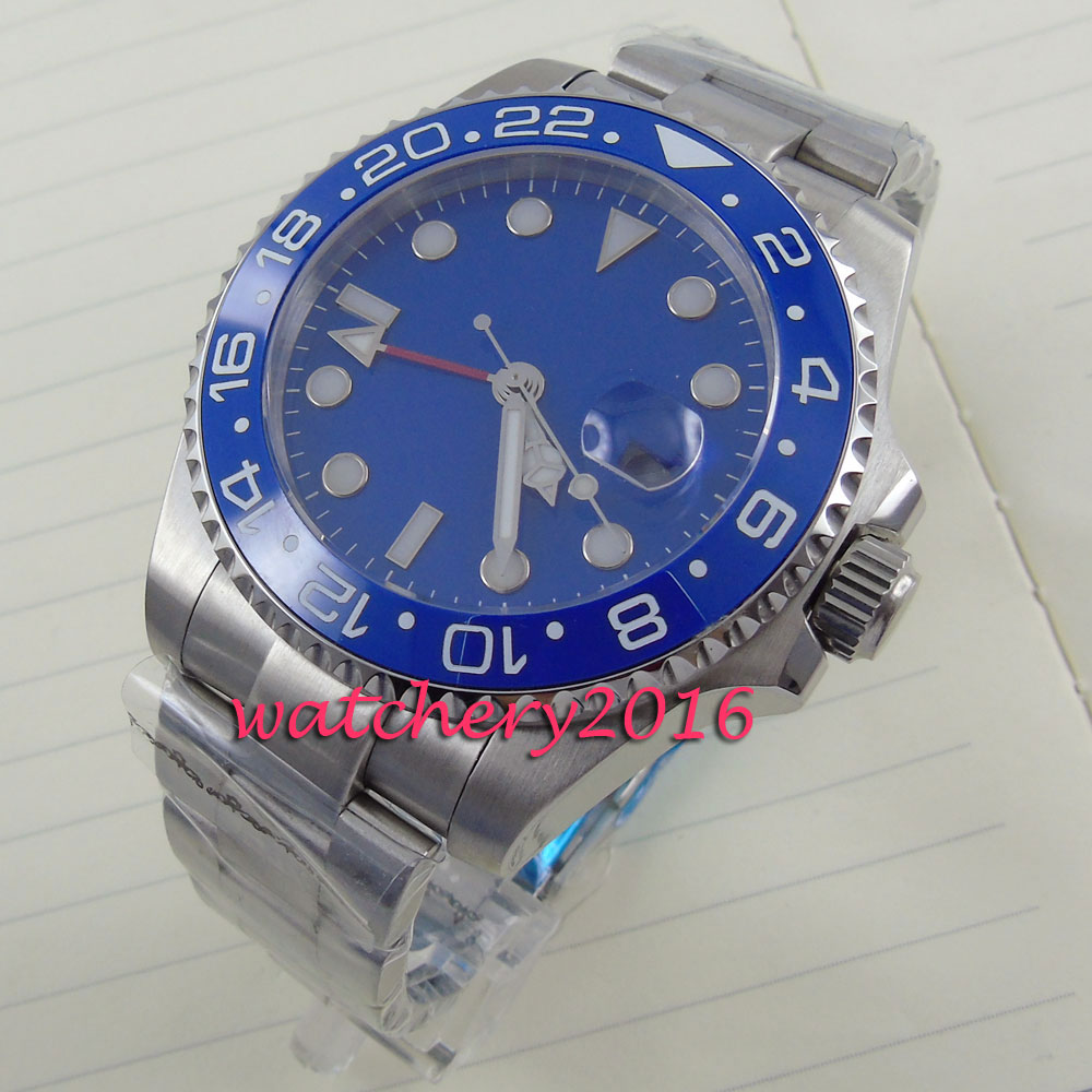 new 43mm Parnis blue dial blue ceramic bezel white marks GMT Automatic Men's business Watch tjc tjc 088 zirconia abs ceramic knife navy blue white