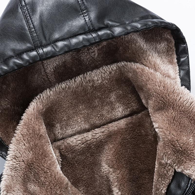New Male PU Leather Jacket Fleece Lining Punk Stand Collar Jacket Men Hooded Zipper Male Coats Slim Fit Motorcycle Outwear - 3