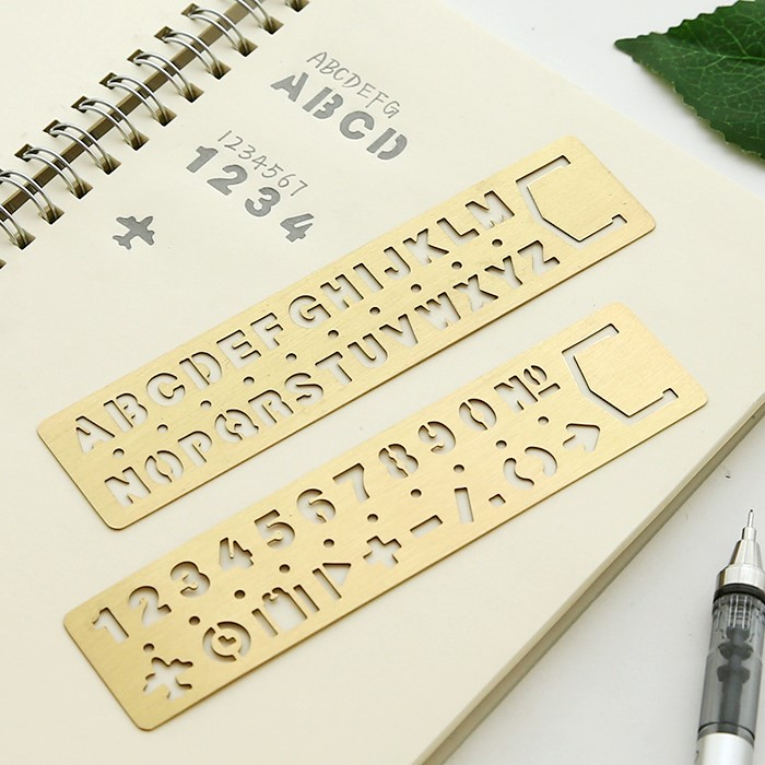 1pcs Number&Alphabet&Pattern Ruler Drawing Template Multi-function Hollow Out Ruler & Bookmark School Supplies,13 Cm X 3 Cm