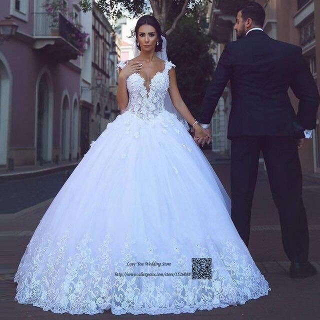 Princess Arabic Wedding Dresses Turkey Vintage Lace Gowns Flower Ball Gown Bride 2017 Vestido De Noiva Plus Size