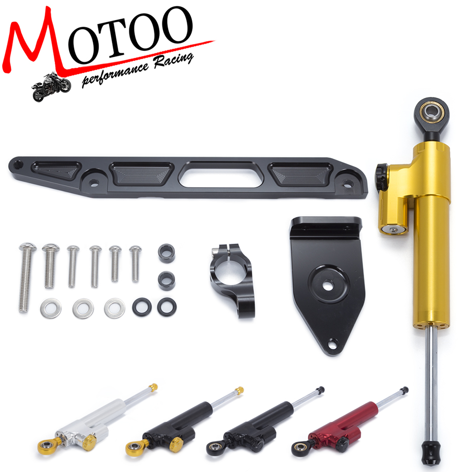 Motoo - Motorcycle Full set CNC Steering Damper Stabilizerlinear Linear Stabilizer Bracket kit For YAMAHA XJR1300 2002-2015
