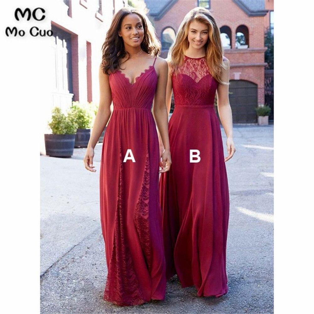 New Lace Wedding Party Dress Bridesmaid Dress Long with AB Design Chiffon Custom Made Women Bridesmaid Dresses