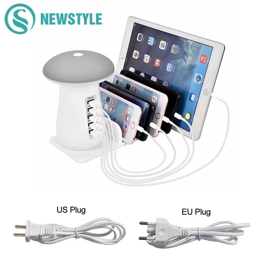 все цены на Mushroom Reading Light LED Desk Night Light 5 Port Adapter Phone Tablet Quick Charge 3.0 USB Charger Hub Touch Switch Table Lamp онлайн