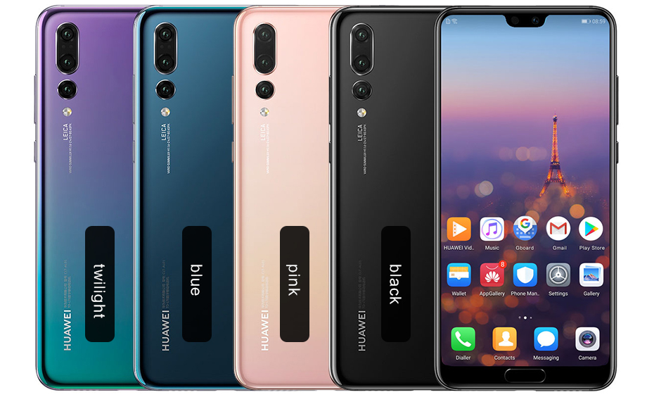 Stock 6.1 Huawei P20 Pro AI Smartphone IP67 Waterproof 40.0MP Triple Rear Cameras Full View Screen NFC Android 8.1 6GB 256GB