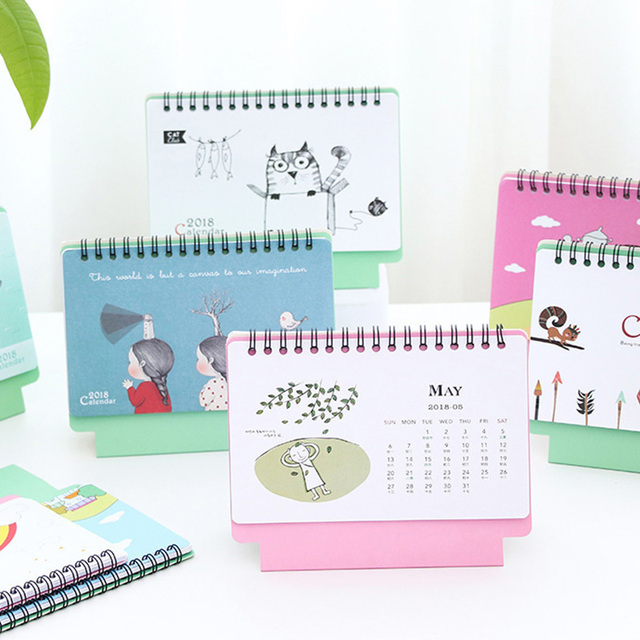 2018 year mini cartoon desk table calendar fresh cute calendar agenda planner organizer office supplies kawaii