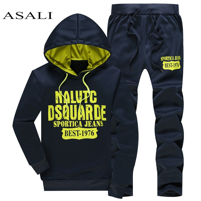 ASALI Brand Men Clothing Set Sportswear 2020 Autumn Hoodies Sweatshirts Sporting Sets Men's Tracksuits Mens Jacket+Pants 2pcs