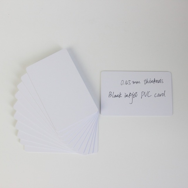 100PCS 20mil 0.45mm thickness Blank Inkjet PVC ID Card  0.45mm Thickness Printable for Epson or Canon Inkjet Printer