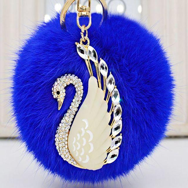 Лебедь симпатичные натурального меха кролика махрово плюшевые брелок для ключа автомобиля сумка подвеска брелок автомобиля