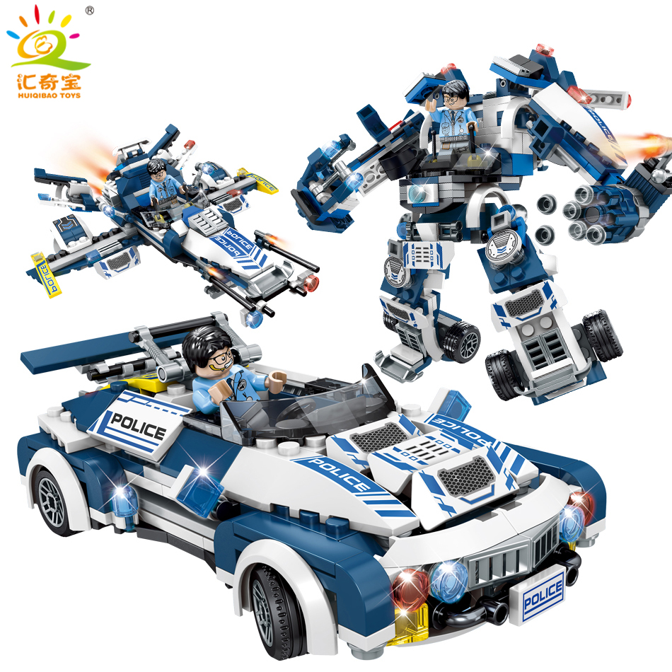 354PCS 3in1 City Police Cars Plane Model Transform Mech Robot Building Blocks Compatible Legoed Technic Educational Toys For Kid 354pcs enlighten city educational building blocks toys for children kids gifts military army plane biplane propeller