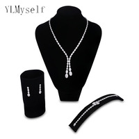 High quality Wedding jewelry sets oval design Necklace+Bracelet+earrings+gift ring Party accessories White bridal jewellery