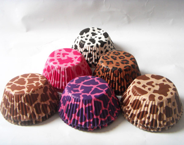 Free Drop Shipping 50pcs white cow/zebra/leopard animal print Camouflage stripe Cupcake Liner muffin baking Cup cake mold