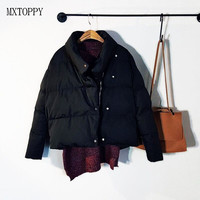 Winter Casual New Fashion Women Solid Color Irregular Short Cotton Jacket Coat