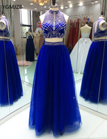 Sexy Two Piece Prom Dresses 2018 Crystal Beaded Floor Length Royal Blue Formal Long Evening Party Gowns for Graduation