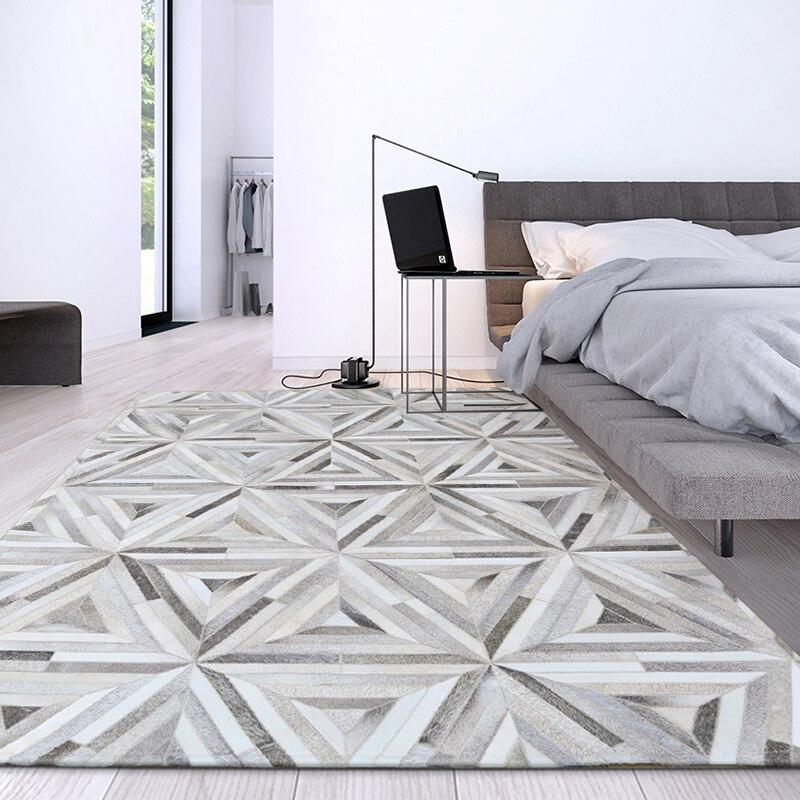 Nordi style luxe peau de vache cousu patchwork tapis peau de vache naturelle triangles gris tapis pour salon chambre décoration tapis