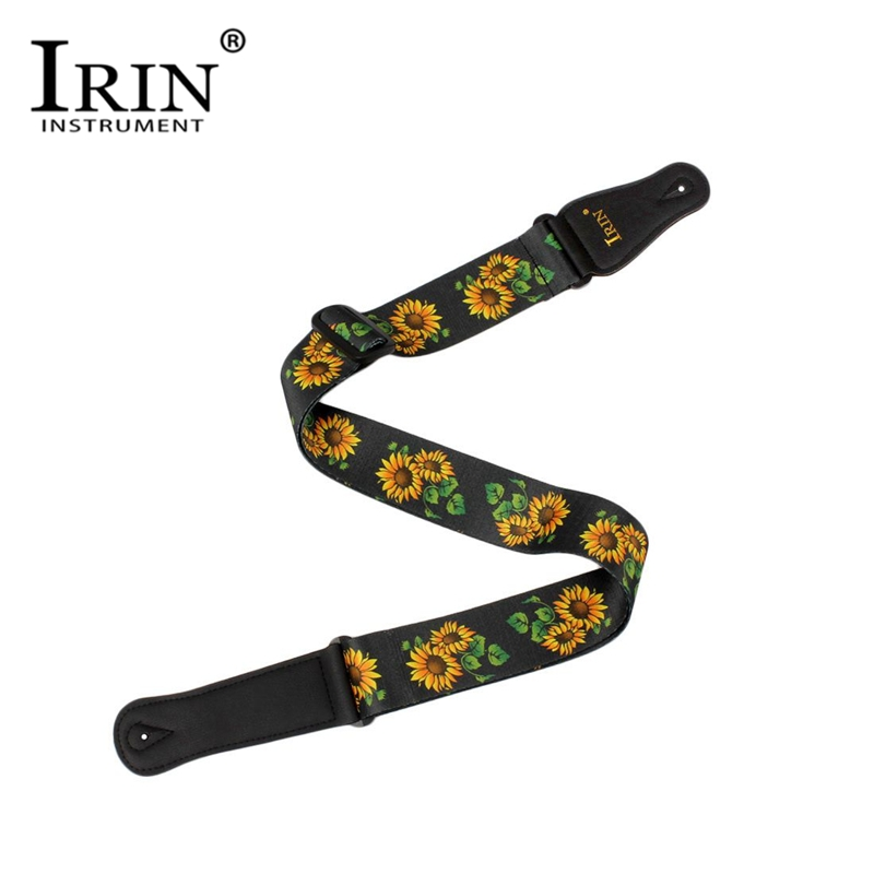 IRIN Sunflower Pattern Adjustable Guitar Strap Polyester Belt PU Leather Ends For Acoustic Folk Classic Electric Guitar