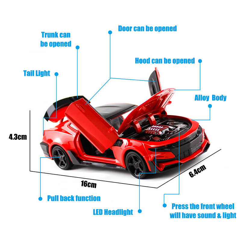 Camaro 1/32 Skala Sport Model Mobil Diecast Kendaraan Mainan Panas Simulasi Model Roda Mobil Cepat Paduan Auto dan Marah Mainan untuk Anak Laki-laki