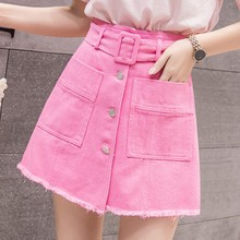 Summer Solid Color Women Denim Shorts Korean Style Jean Skirt Shorts Casual Button Women's Shorts Brushed Hem High Waist Shorts