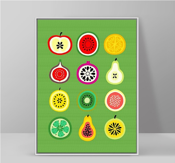 1 Pieces Nordic Style Fruit Cut Simple Decorative Painting Wall Art Picture Canvas Painting for Living Room No Framed