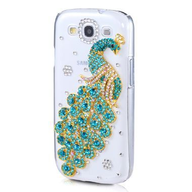 Bulk Novelty Luxury Peacock Diamond Cover For Samsung I9300 Crystal Peafowl Bling Case For Galaxy siii SIII S3
