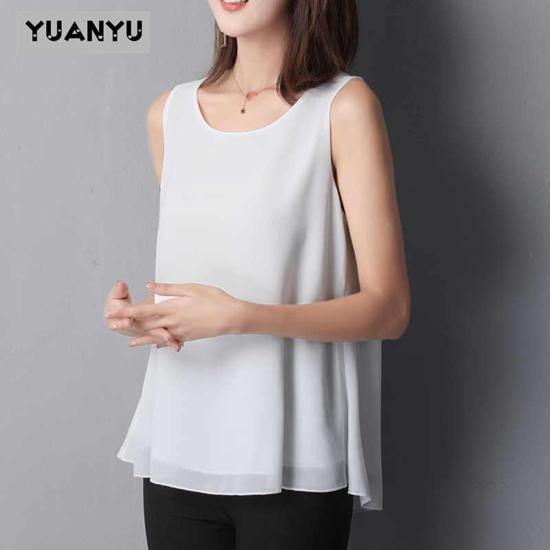 여름 여성 셔츠 2020 새로운 도착 민소매 캔디 색상 여성용 쉬폰 블라우스 긴 플러스 M-6XL 여름 패션 의류