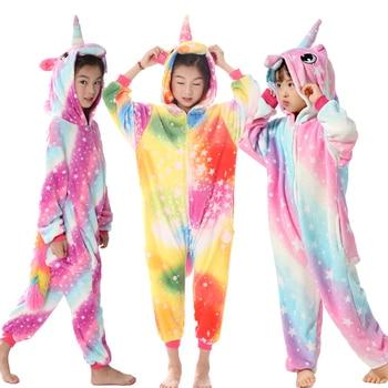 Кигуруми пижамы для детей для девочек с единорогом аниме комбинезон-панда  детский костюм пижамы мальчиков комбинезон Единорог зимние детс. c64f662085537