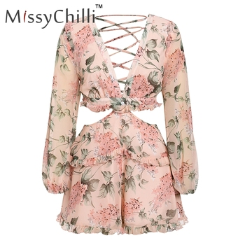 MissyChilli Sexy v neck backless summer playsuit Women chiffion beach short jumpsuit Elegant pink ruffle party romper overalls 5