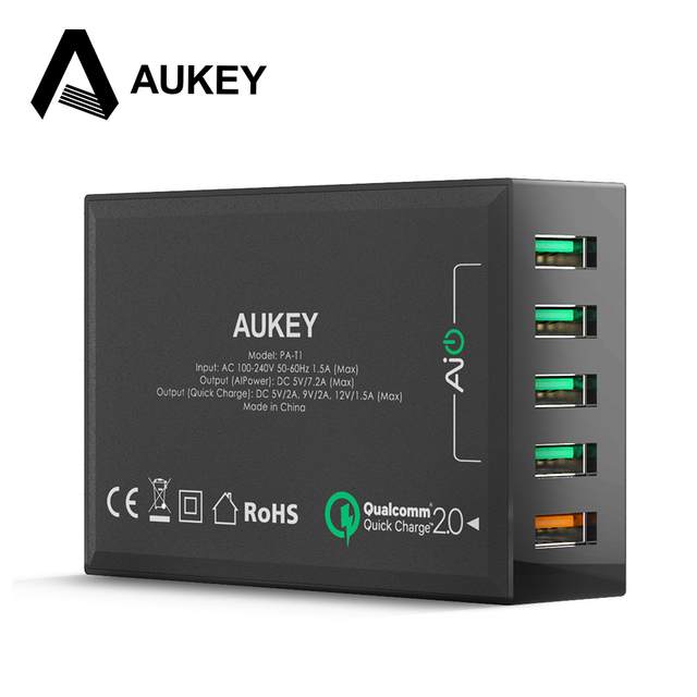 AUKEY Quick Charge 2.0 54W 5 Ports QC2.0 USB Desktop Mobile Charger Station for Huawei iPhone Apple iPad Samsung Sony HTC& More